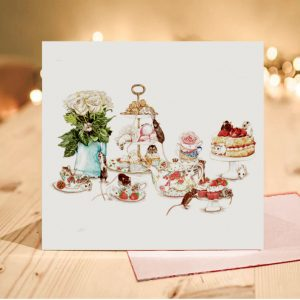 Sugar and Spice, and all things Mice! Teaparty Greeting Card – Blank Inside