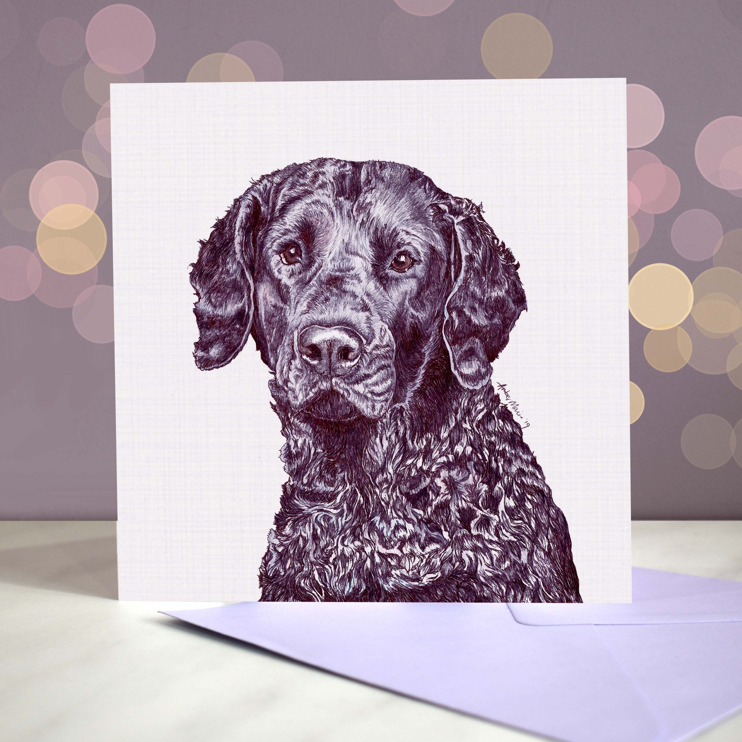 Bokeh Background 6×6 curly coated retriever
