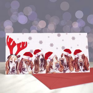 All About that Bass-et – Basset Hound Christmas Greeting Card