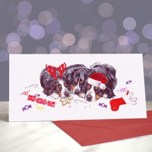 Christmas Bern-Out Greeting Card – Bernese Mountain Dogs