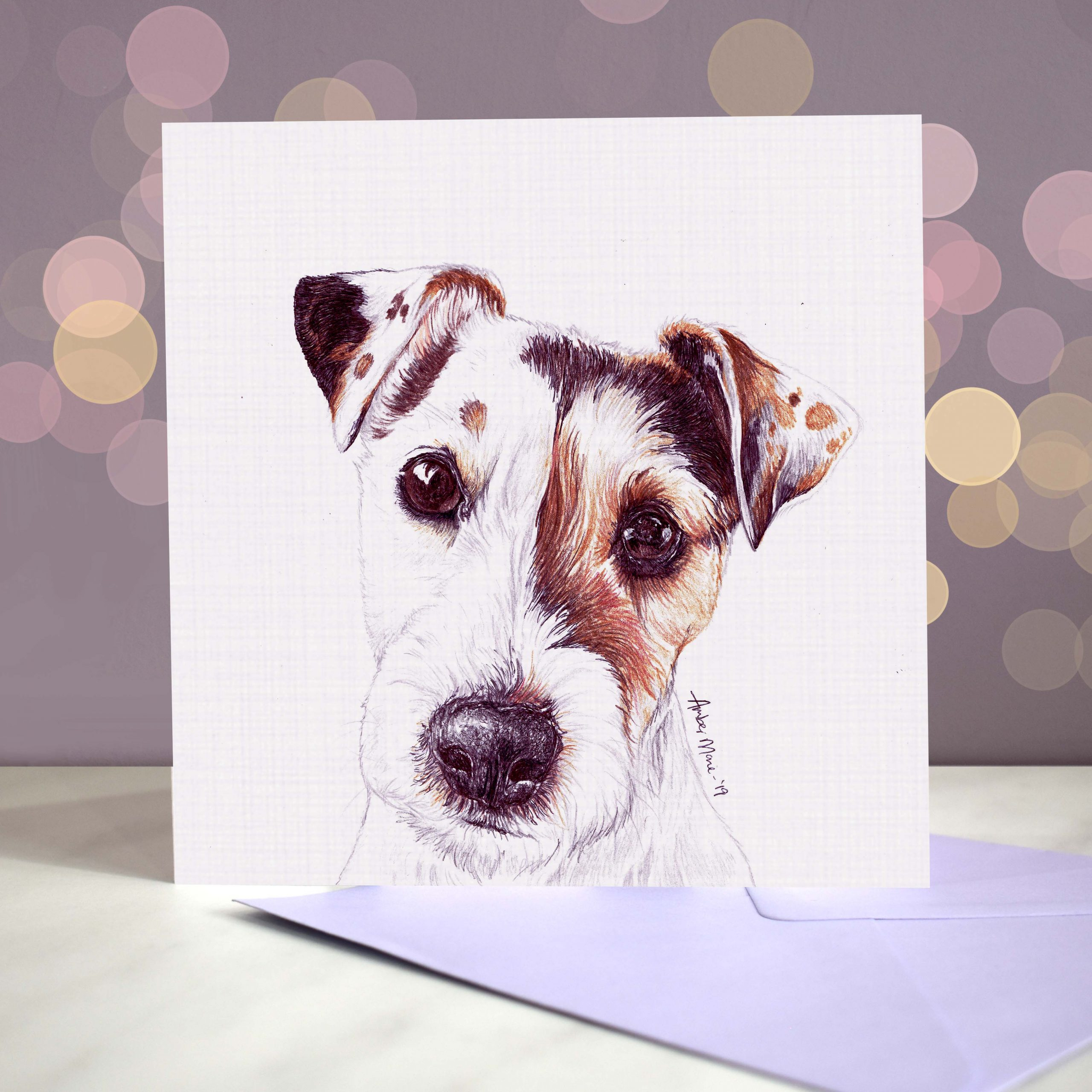 Bokeh Background 6×6 wire jack russell