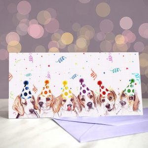 Overeager Beagles Greeting Cards