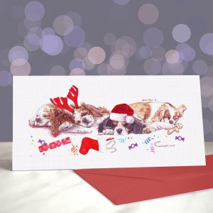 Noble Nappers – Cavalier King Charles Spaniel Greeting Cards (Christmas)