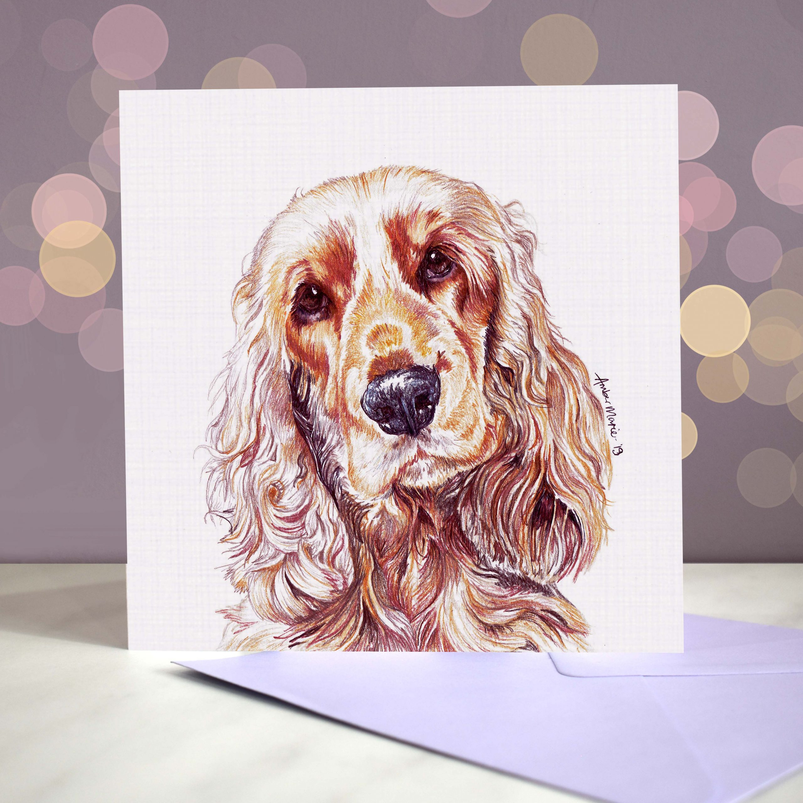 Bokeh Background 6×6 Cocker Spaniel Show Golden