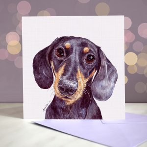 Black and Tan Dachshund Greeting Card – Blank Inside