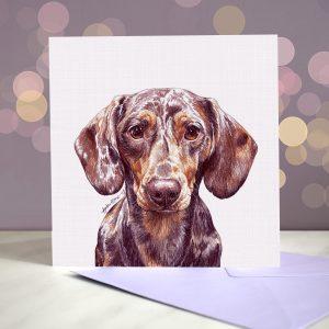 Dapple Dachshund Greeting Card – Blank Inside