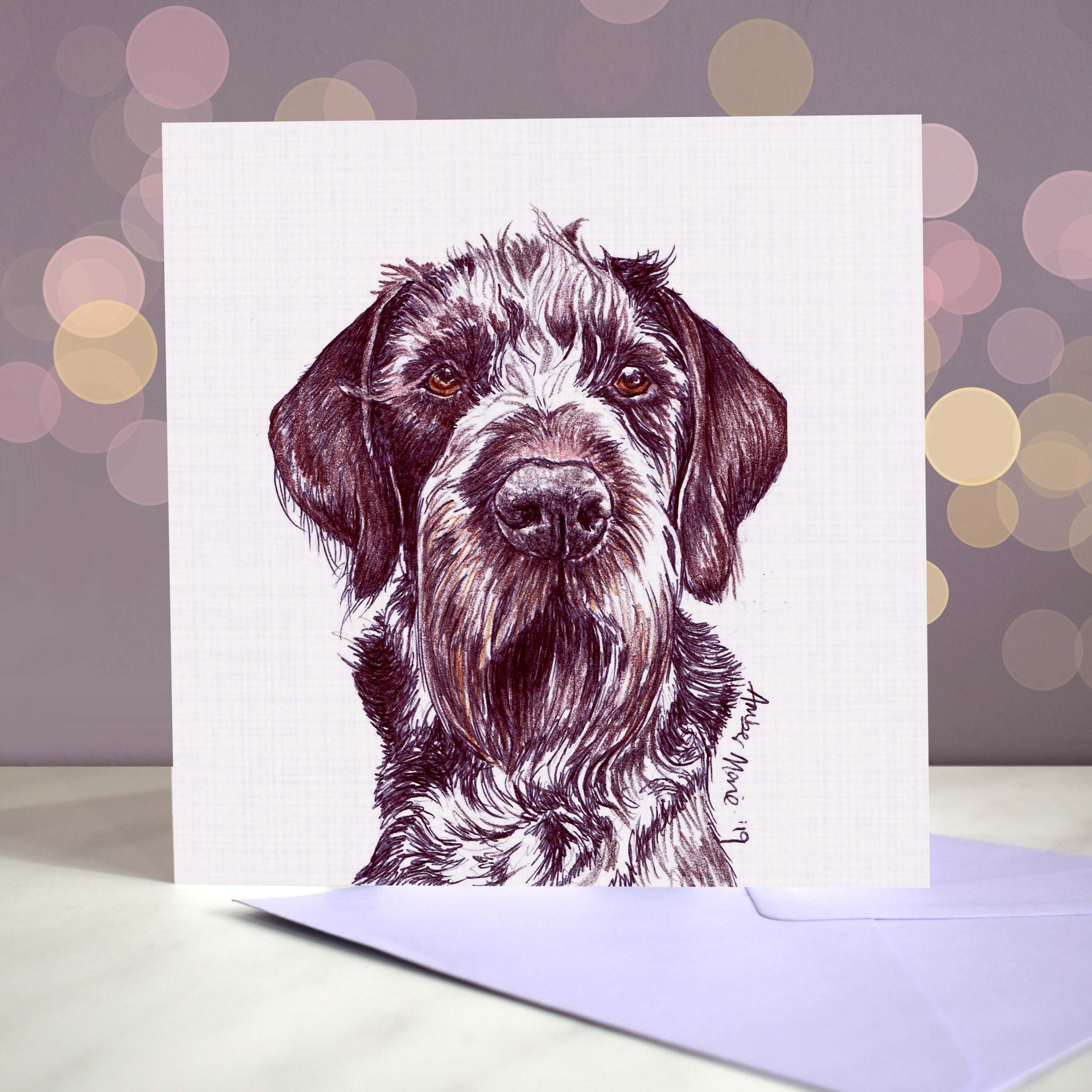 Bokeh Background 6×6 german wirehaired pointer