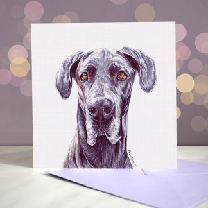 Great Dane – Blue – Greeting Card