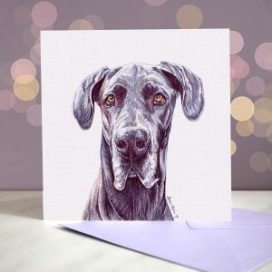 Great Dane – Blue – Greeting Card