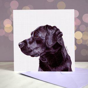 Labrador (Black) Greeting Card – Blank Inside