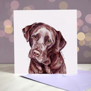 Labrador (Chocolate) Greeting Card – Blank Inside
