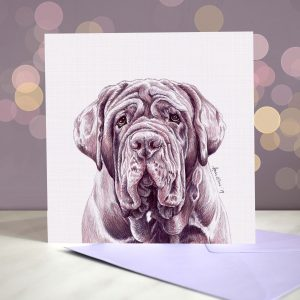 Neapolitan Mastiff – Blue – Greeting Card