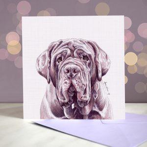 Neapolitan Mastiff – Blue – Greeting Card
