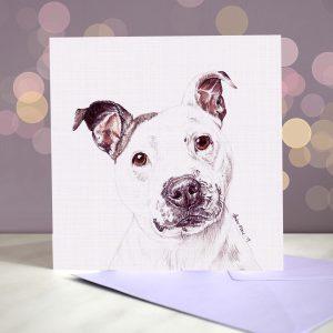 Staffordshire Bull Terrier (White) Greeting Card