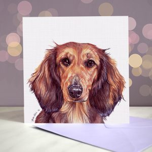 Shaded Red Long Haired Dachshund Greeting Card – Blank Inside