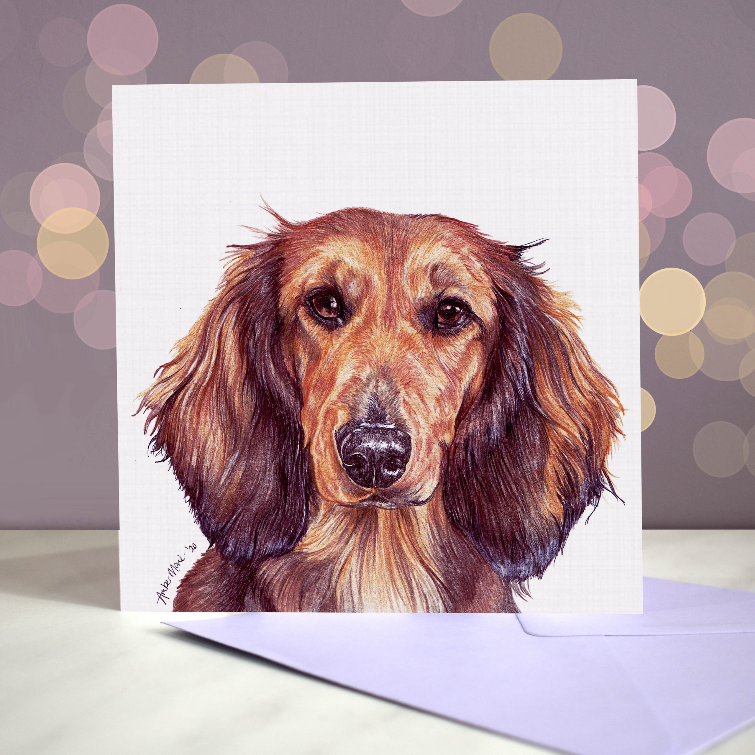 Bokeh Background 6×6 Dachshund Shaded Red Long