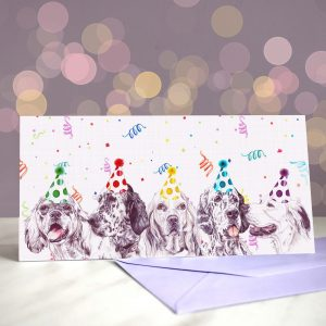 For Whom the Beltons – Greeting Card of English Setters