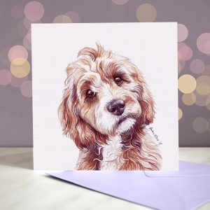 Cockapoo – Red and White – Greeting Card