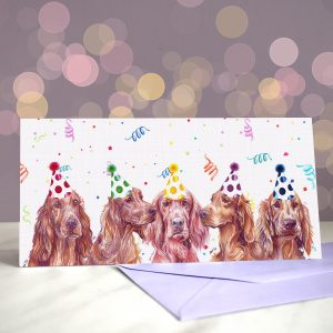 Reddy, Set, Go – Greeting Card of Irish Red Setters