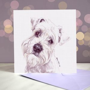 Miniature Schnauzer – White – Greeting Card