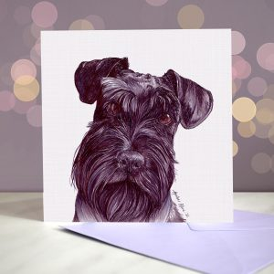 Miniature Schnauzer – Black – Greeting Card
