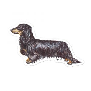 Dachshund (Long Haired) Shaped Stickers