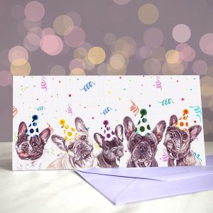 Frenchie Kissing in the USA Greeting Card