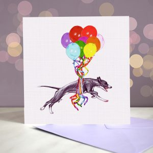 Whippet Greeting Card – Pup, Pup & Away