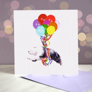 Old English Sheepdog Greeting Card – Pup, Pup & Away