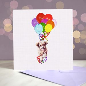 Poodle (Toy Red) Greeting Card – Pup, Pup & Away