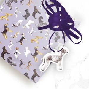 Bedlington Terrier – Shaped Gift Tags (Pack of Three)