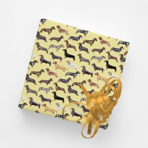 Lose Yourself to Dax – Gift Wrap – Dachshunds in Mustard