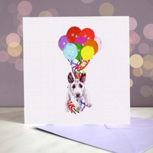 Bull Terrier Puppy Greeting Card – Pup, Pup & Away