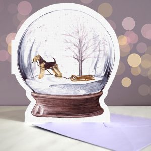 Airedale Terrier – Snow Globe Pop Up Card