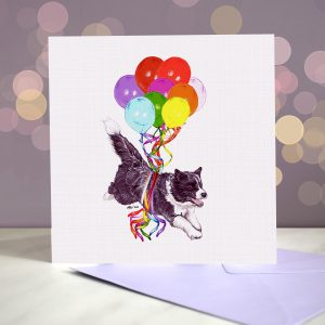 Border Collie Black Greeting Card – Pup, Pup & Away