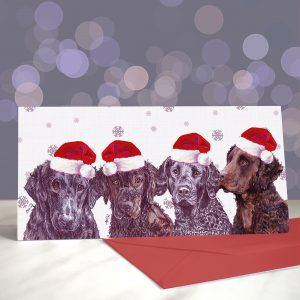 Curls Just Wanna Have Fun – Curly Coated Retriever – Greeting Cards (Christmas)