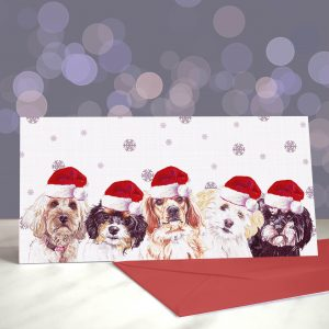 Don't Stop the Cava-lry – Cavapoo Greetings Card (Christmas)