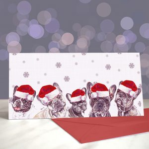 Frenchie Kissing in the USA Greetings Card (Christmas)