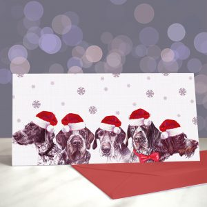GWooPs Upside Your Head – German Wirehaired Pointers – Greeting Cards (Christmas)