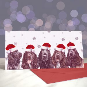Hooked on a Fielding, High on Retrieving – Field Spaniels – Greeting Cards (Christmas)
