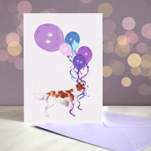Irish Red and White Setter – Balloon Bouquet Card