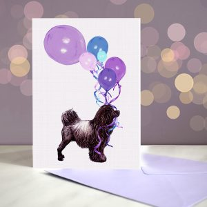 Portuguese Water Dog – Liver – Balloon Bouquet Card