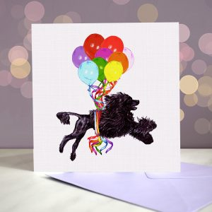 Portuguese Water Dog Greeting Card – Pup, Pup & Away
