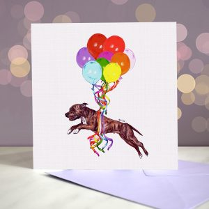 Staffordshire Bull Terrier (Brindle) Greeting Card – Pup, Pup & Away