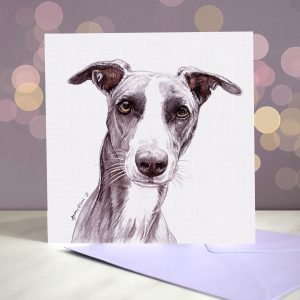 Whippet – Grey Parti – Greeting Card