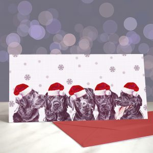 Welcome to the Black Pawade – Black Labradors – Greeting Cards (Christmas)