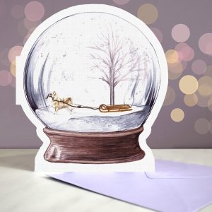 Chihuahua Long Haired – Snow Globe Pop Up Card