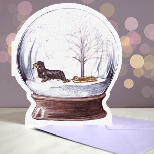Dachshund Long Haired – Black and Tan – Snow Globe Pop Up Card