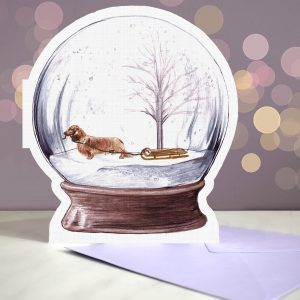 Dachshund Long Haired – Shaded Red – Snow Globe Pop Up Card