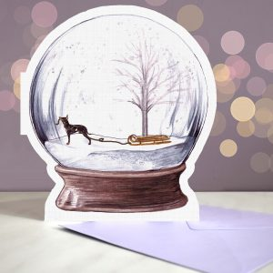 English Toy Terrier – Snow Globe Pop Up Card